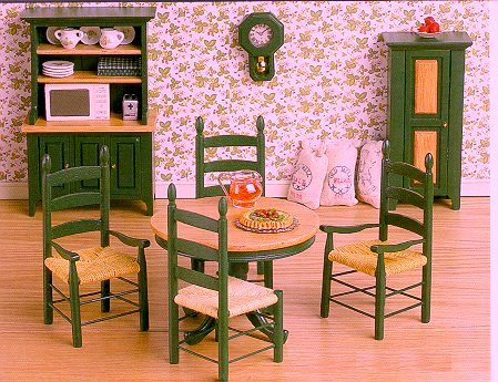 green oak farmhouse kitchen dining set clock and chairs not available - Dollhouse Kitchen