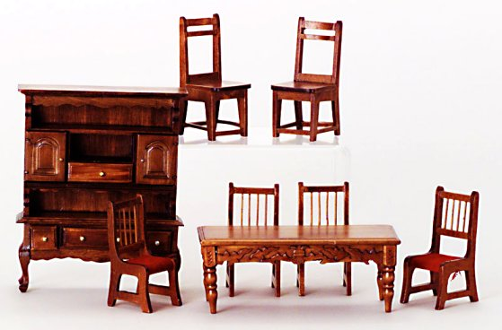 Value priced dining room furniture sets from fingertip fantasies dollhouse miniatures - Dollhouse dining room furniture ...