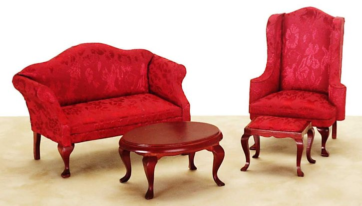 Red Moiré Living Room Set In 1 Part 95