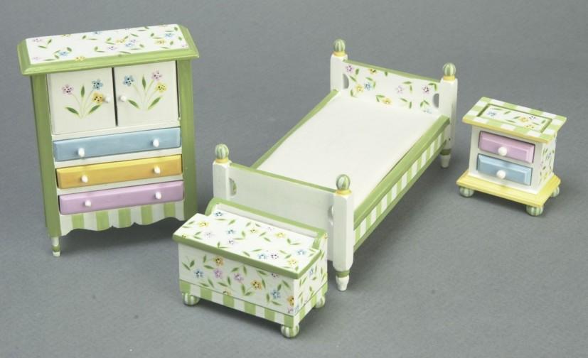 Springtime Bedroom Set From FINGERTIP FANTASIES Dollhouse Miniatures