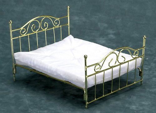 dollhouse miniature brass bed 2
