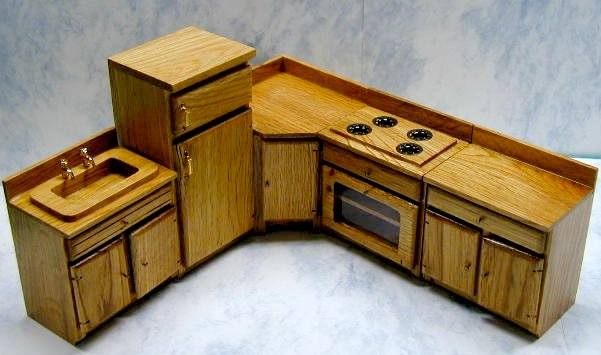 Oak Dollhouse Kitchen Furniture