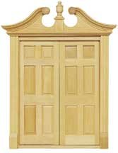 Double Entry Deerfield Door HW6034 $29.95. Exterior Double Six Panel Doors  Hinged To Operate Perfectly Together. Features Intricate Scroll Pediment.