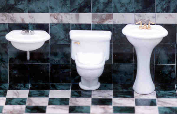 Bathroom Fixtures by Model Builders Supply from FINGERTIP FANTASIES Dollhouse Miniatures